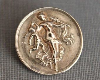 Antique Cupid and Psyche Brooch /  Belle Époque