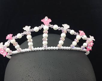 Pink glass crystal and white faux pearl tiara, headband with acrylic flowers ***FREE SHIPPING***