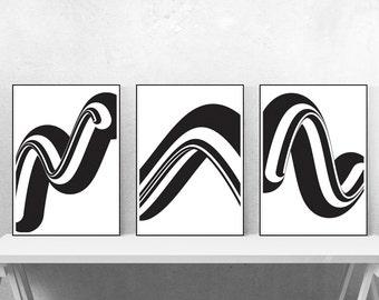 Op Art - Retro yet Modern set of 3 Graphic Design Art Posters