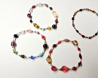 4 Bead Soup Bracelets ... Each is One Of A Kind ... Each made with a Variety of Beads