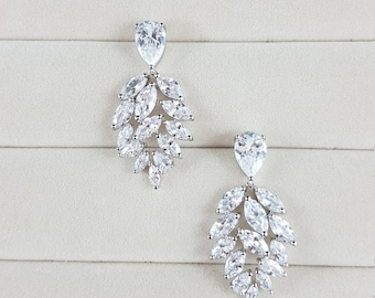 Drop Earrings, Bridal Earrings, Cubic Zirconia Earrings, Wedding Earrings, Grad Jewelry, Party Jewelry, Bridal Jewelry, Prom Jewelry