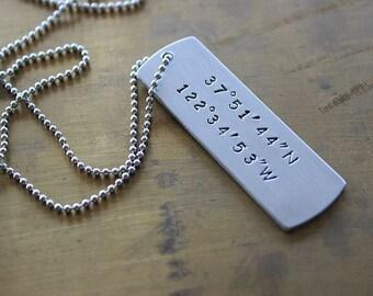 Custom Coordinates Dog Tag, Custom Necklace, coordinate Dog Tag , gps Dog Tag, Anniversary Dog Tag ,Silver Latitude longitude Dog Tag