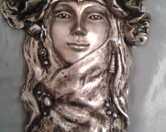 Art nouveau  flower girl head wall plaque