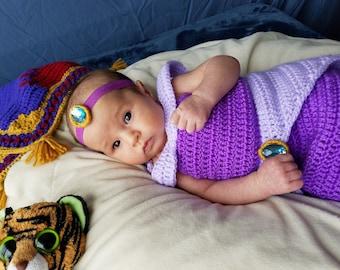 crochet Disney's 'Jasmine' inspired purple princess dress- size newborn-12months