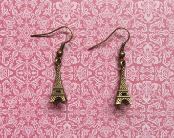 Small Bronze Eiffel Tower Earrings