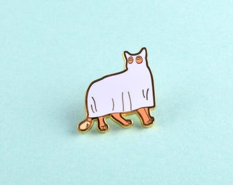 Kitty Lapel Pin - Ghost Cat Hard Enamel Pin