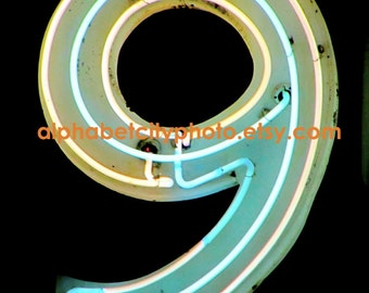NUMBER 9 (a) 4x6 Vertical Photograph, 50s NIGHTCLUB NEON, Alphabet Art Photo Letters