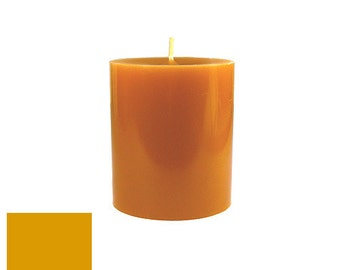 3 x 3.5 Antique Gold Classic Hand-poured Unscented Pillar Candles Solid Color