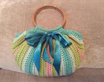 Fat bottom crocheted handbag