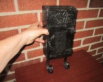 Vintage Black Painted Metal Wall Hanging Mail Box