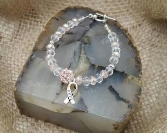 Cancer Awareness beaded bracelets, 5 different designs