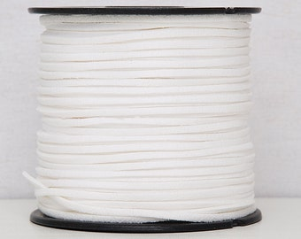 White faux suede cord 3mm Jewelry supplies Jewelry cord  Suede rope Suede thread Craft project/ 3 meters