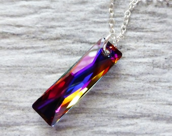Prism Crystal Necklace, Swarovski Rectangle Pendant, Sterling Silver, Column Pendant, Rainbow Necklace, Under 40, Gift for Her