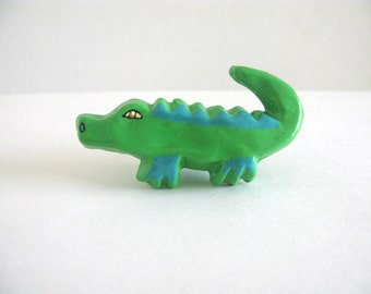 Crocodile Drawer Knob - green alligator ceramic knob for dresser drawers
