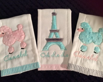 Ooh La La Poodle Burp Cloth Set