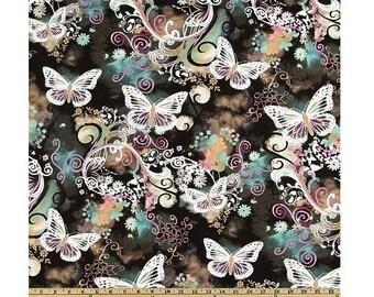 Michael Miller Filigree Flutter Black Fabric