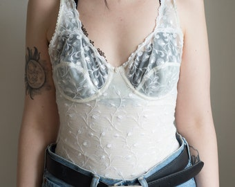 Womens 90s Vintage White Lace Sheer Lingerie Style Bodysuit