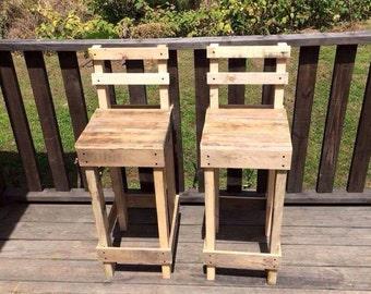 Rustic Wooden Bar Stools