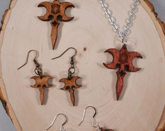 Eragon/Murtagh Zar'roc wood pendant necklace, keychain, earrings! For ERAGON and INHERITANCE CYCLE fans!