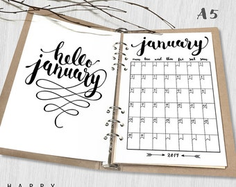 Printable 2017 Monthly Planner, Hello 2017 A5 Monthly Planner, A5 2017 Monthly planner inserts, PDF file