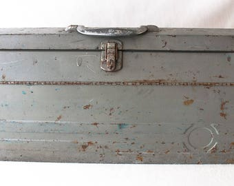 Tool Box Tackle Box Vintage Tool Box Rustic Metal Box Utility Box Rustic Storage Rustic Box Gray Tool Box Craftsman Storage Industrial Decor