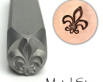 Fleur de Lis - Metal Design Stamp Tool 6mm x 7mm for Jewelry Making - Flower of Life - French or Regal motif metal stamp