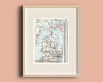 Michigan United States Vintage 1978 Map Instant Download, Printable Map, Home Library Decor, Wall Art, Antique