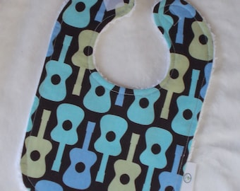 M. Miller Boy Groovy Guitar Fabric and Chenille Bib - SALE
