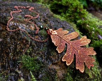 Large Fallen Copper Oak Leaf Necklace | Electroformed Jewelry | Nature Jewelry | REAL Oak Leaf | Copper Oak Leaf Pendant