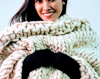Lambswool Chunky Hand Knit Throw 50 inch x 60 inch