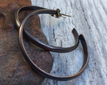 Classic Rustic Copper Hoops - Large Open Hoop Post Earrings for Everyday Wear - Custom Sizes Available - Simple Minimalist Jewelry