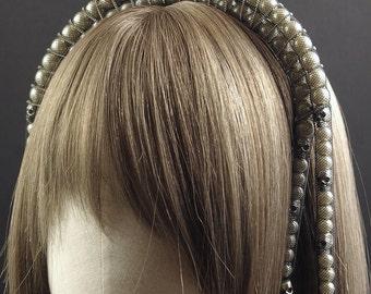 Tudor Style Bridal Pearl Tiara with Skulls & Chains