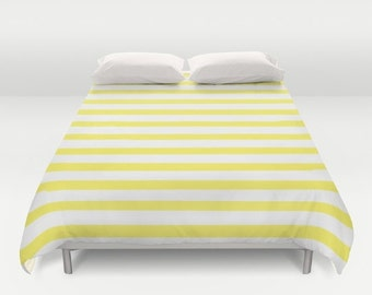 Yellow Duvet Cover, Striped Bedding, Kids Bedroom Decor, Striped Duvet Cover, Boys Room Decor, Girls Bedroom Decor, Twin, Queen, King