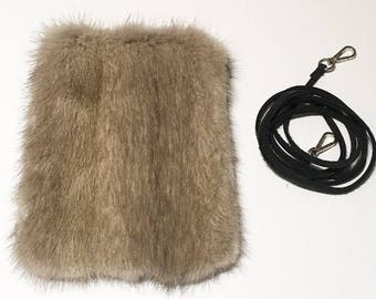 Recycled grey astrakhan fur cellphone wallet