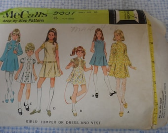 McCalls 9657 Girl's Dress or Jumper and Vest Pattern Size 10 Dropped waistline Vintage