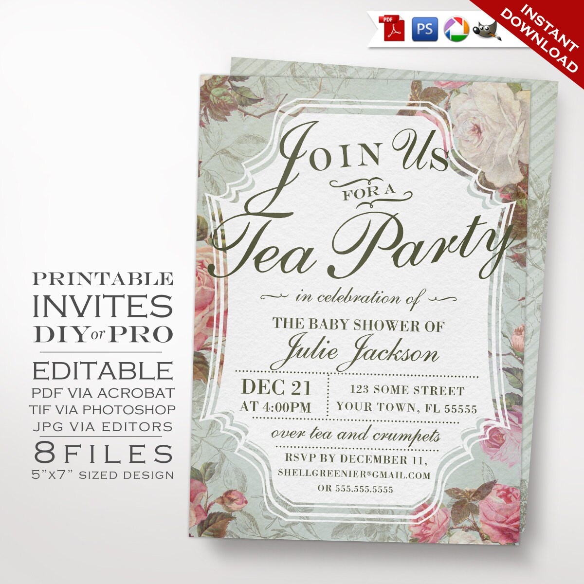 Baby Shower Invitation Template Vintage Rose Shower