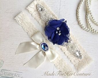 Royal Blue Wedding Garter-Stretch Lace Garter-Bridal Garter-Lace Garter Flower Garter-Something Blue Garter-Ivory Lace Garter, Blue Bridal G