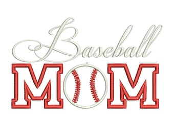 Baseball Mom Embroidery Design - PES Machine Applique Designs - 3 Sizes - Instant Download