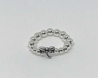 Antique Silver Dragonfly Beaded Stretch Ring/ gifts for her/ Beaded Ring/ 4mm bead