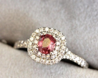 Double halo Sapphire engagement ring, RASPBERRY PADPARADSCHA Pink Sapphire ring, pink sapphire, tiffany inspired