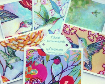 Hummingbirds - set of Blank Note Cards by Jenlo