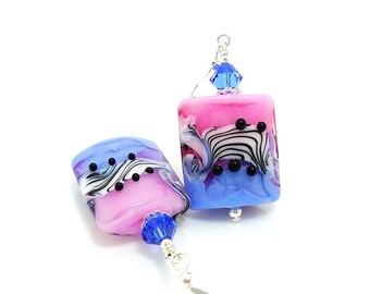 Pink Blue & Black Earrings, Animal Print Earrings, Glass Earrings, Modern Earrings, Lampwork Earrings, Beadwork Earrings, Zebra Print