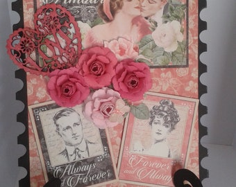 picture on stand using Mon Amour paper by Graphic 45