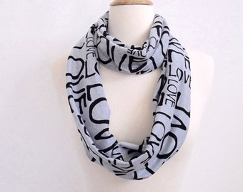 Love Scarf, Infinity Scarf, Black & Gray, Love loop scarf, Circle Scarf, Long scarf, Gifts for Wives, Girlfriend