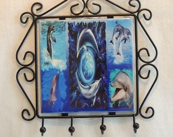porte clés, cadre, déco murale, dauphin