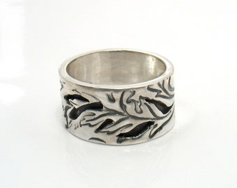 Sawn Nature - silver sawn and oxidized unisex band