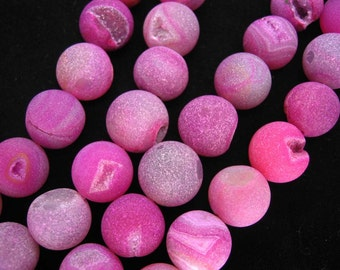 Magenta Agate Quartz Geode Round Frosted Beads 14mm