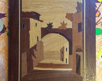 Vintage marquetry Picture, Beautiful street scene with Arch, Wooden inlay