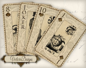 Printable Steampunk and Science playing cards full deck printable digital download instant download digital collage sheet - VD0448