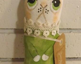 SALE,Rabbit Doll,Primitive Art Doll,Art Cushion Doll,Softie,Art Doll,Shabby Chic,Folk Art Doll,Folk Art Rabbit,Ornie,Whimsical,Cloth Doll